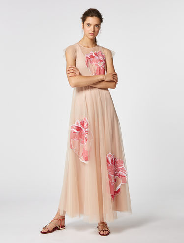 Long tulle dress with appliqués
