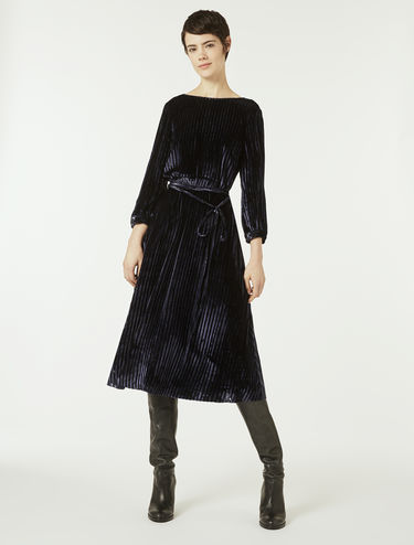 Velvet dress with stripe effect