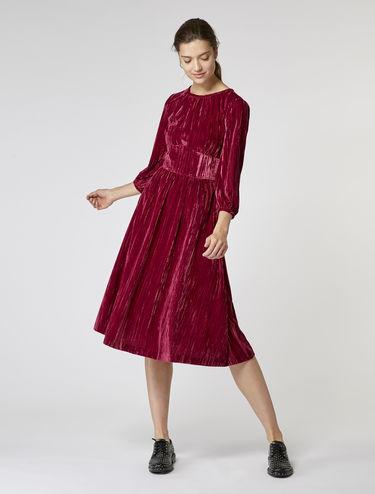 Crinkle velvet midi dress