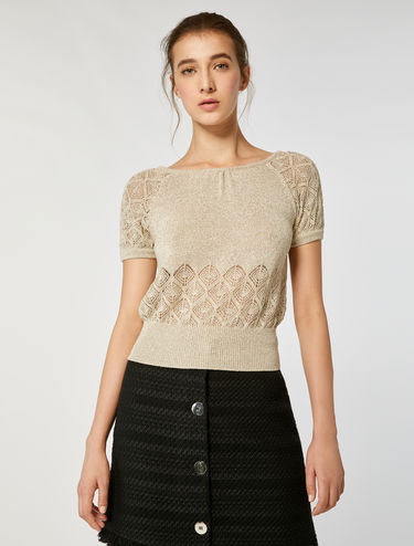 Mesh lamé sweater
