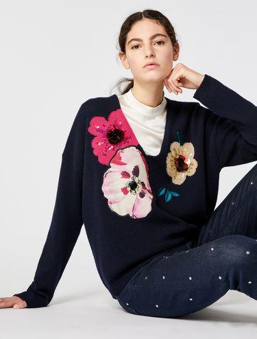V-Neck-Pullover mit Blumenstickerei