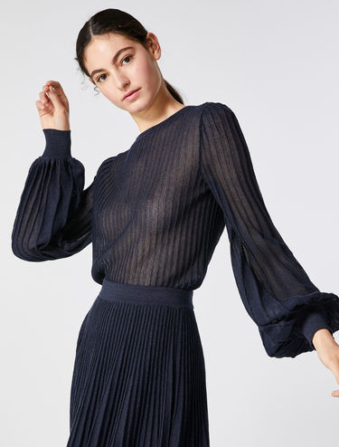 Pleated lamé blouse