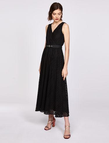ロング ジャージー オープンワーク ドレス
