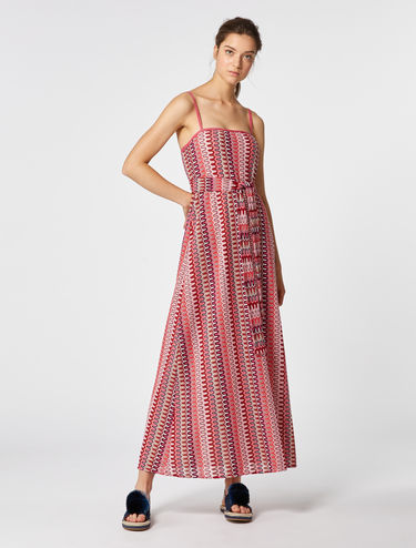 Long, lamé lace jersey dress