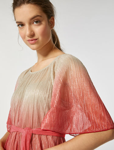 Pleated laminated jersey dress