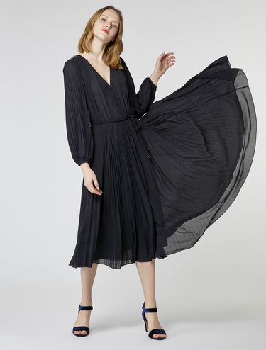 Pleated jersey midi dress