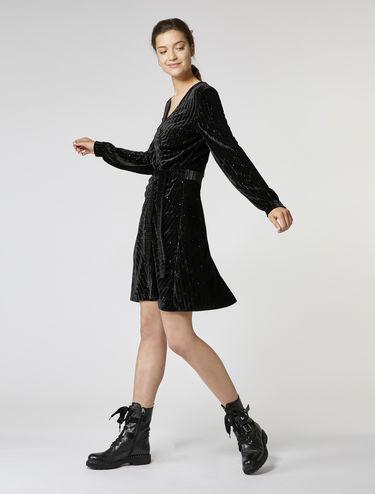 グリッター ベルベット ジャージー ドレス