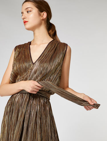 Micro-pleated metallic jersey dress