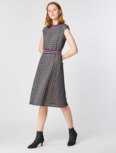 Lace jersey dress with lamé stripe detail