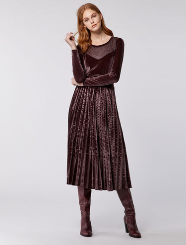 Velvet dress with pleated skirt