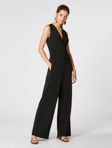 Jersey jumpsuit with knot