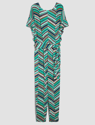 Jumpsuit with crossover neckline and belt