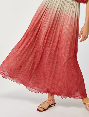 Pleated laminated jersey skirt