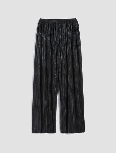 Micro-pleated metallic jersey trousers