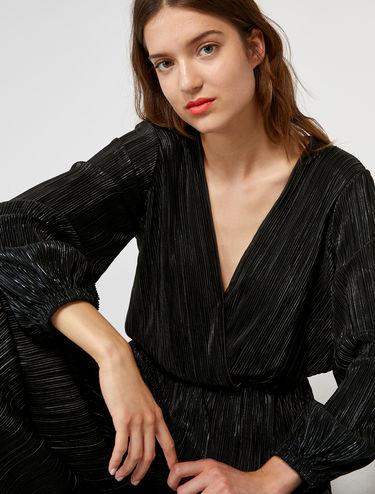 Micro-pleated metallic bodysuit