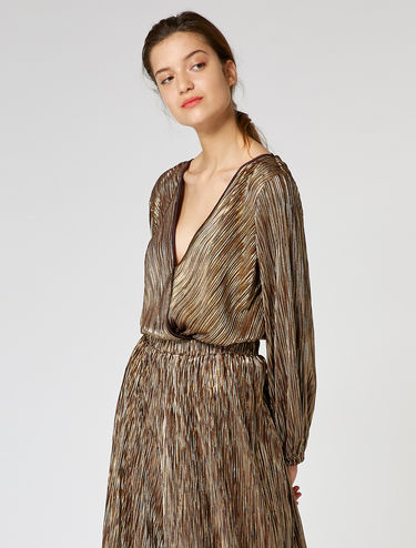 Micro-pleated metallic bodysuit