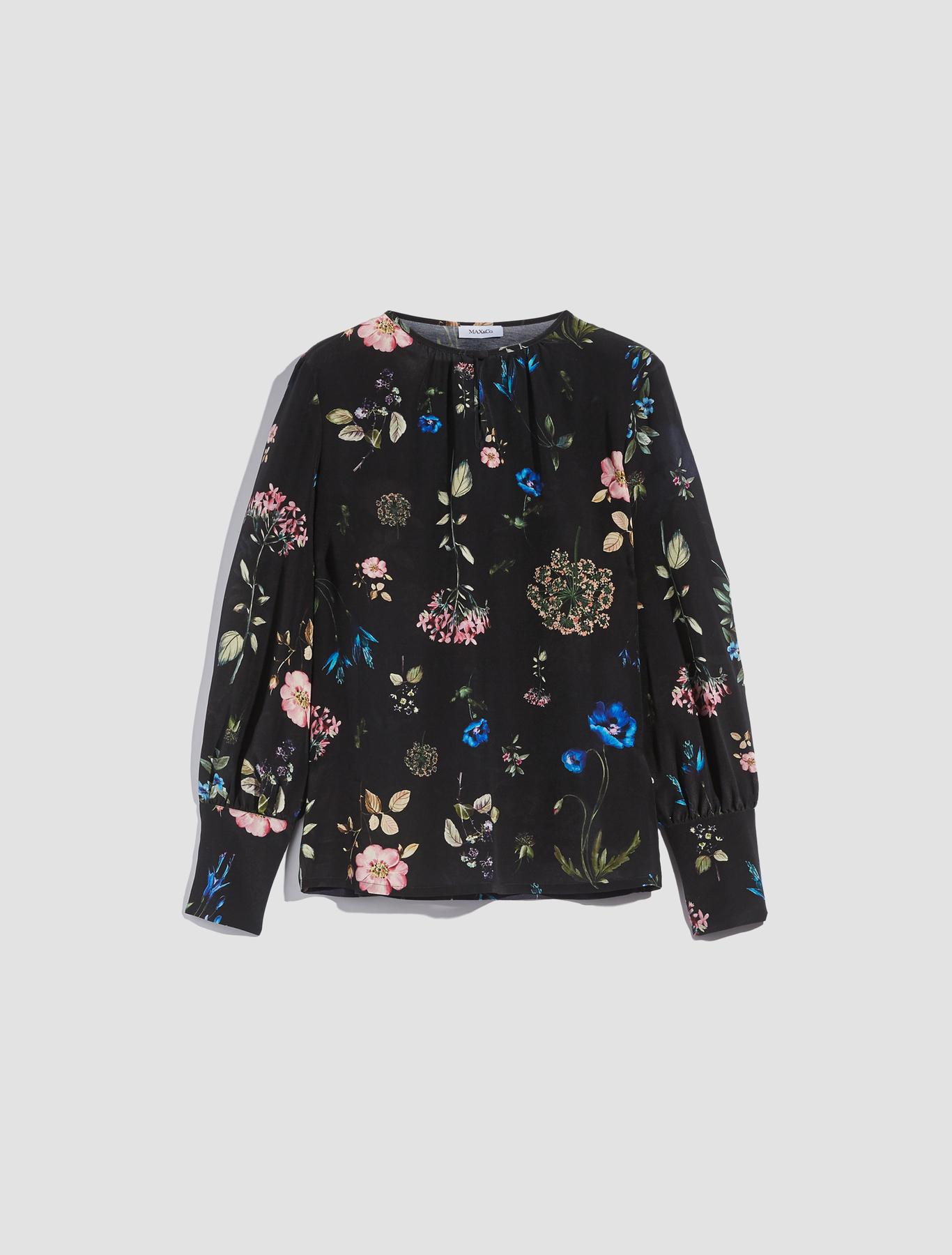 4f6dfebe36ece Silk crêpe de chine blouse. Colour  Black Pattern