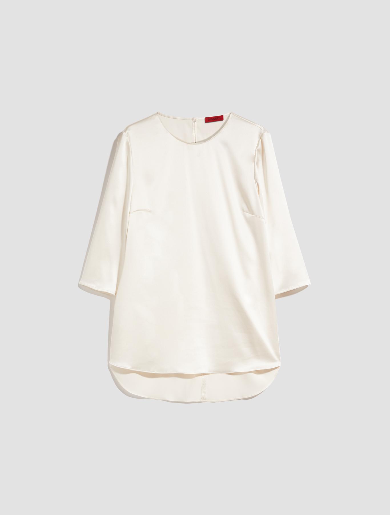 ab30174fe2da0b Silk satin blouse, ivory - Max&Co.