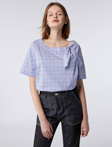 Poplin blouse with bow fastening