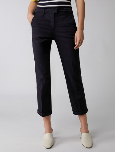 Cropped slim-fit trousers