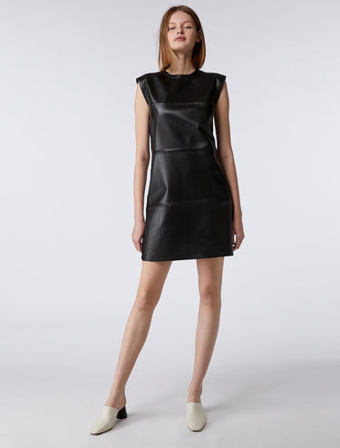 Leather and knit dress