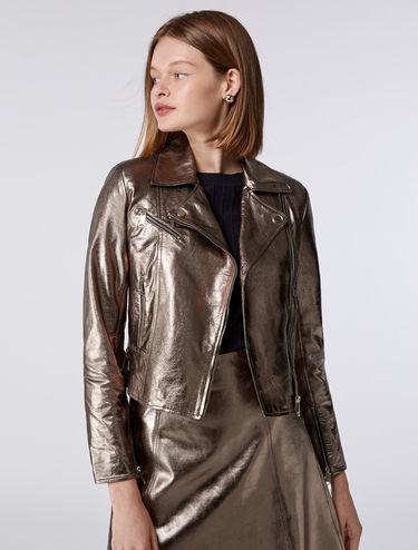 Biker jacket in laminated nappa