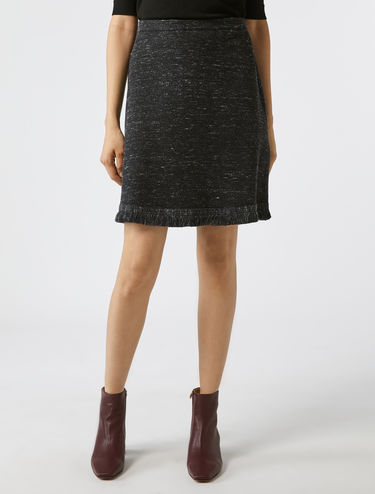 Jacquard jersey skirt with fringing