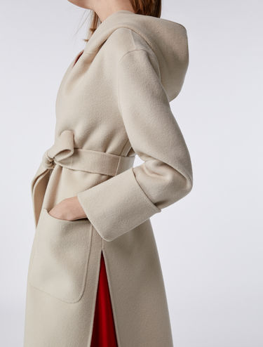 Hooded wool-cashmere coat