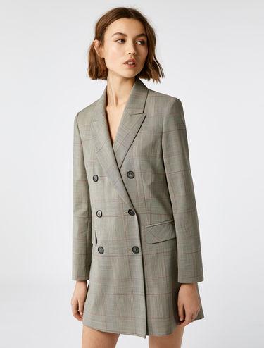 Longline check blazer
