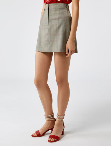 Wool check mini-skirt