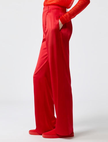Wide-leg silk stain trousers