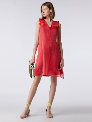 Silk organza V-neck dress