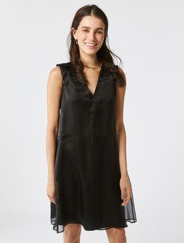 Silk organza V-neck dress