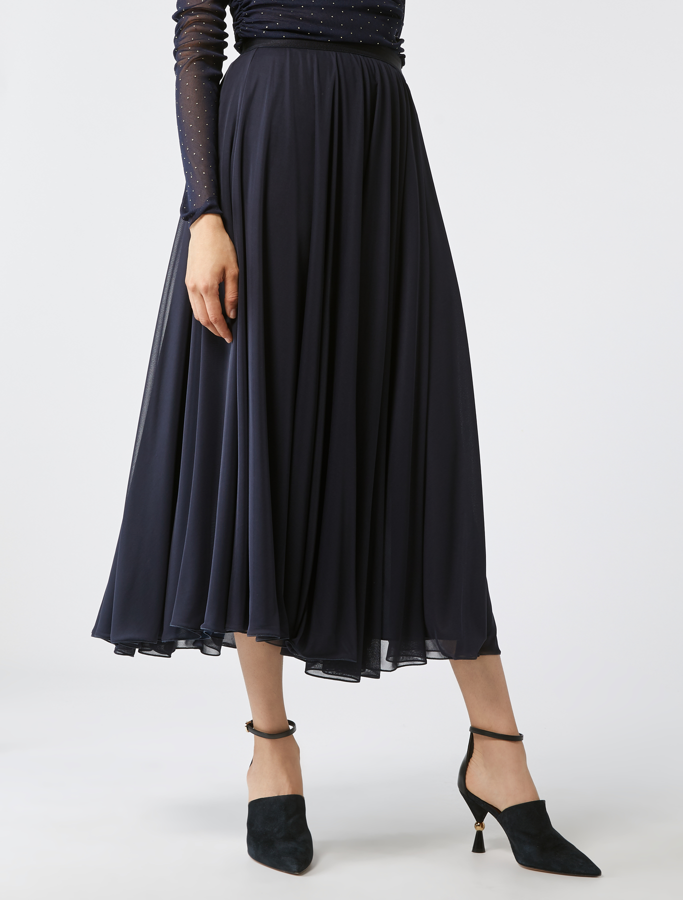 761cbe01d546 Semi-sheer full midi-skirt, midnight blue - Max&Co.