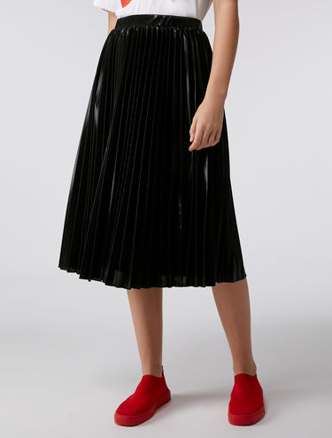 Metallic pleated midi-skirt