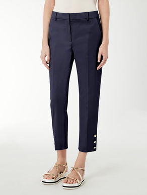 Satin weave cotton trousers