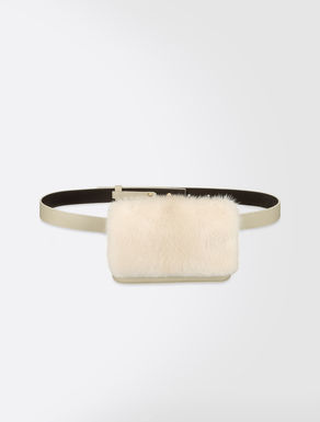 Leather and mink pouch