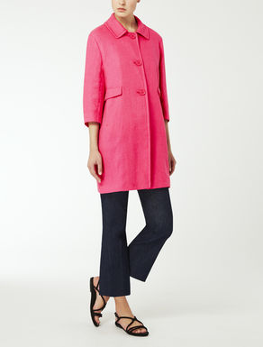 Linen basketweave duster coat