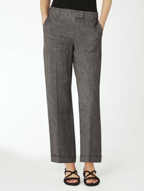 Délavé-effect linen trousers