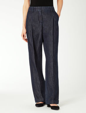 Cotton and linen denim trousers