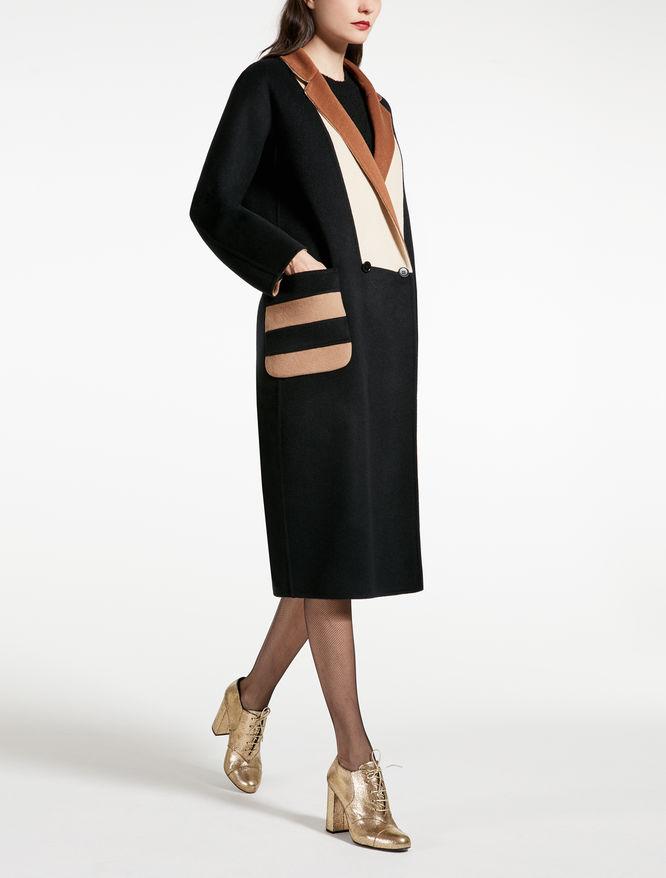Manteau réversible en laine et angora