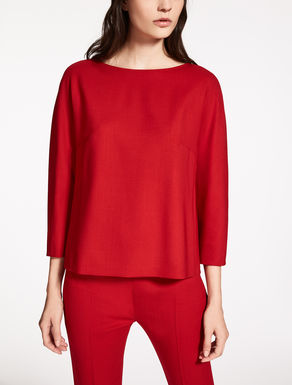 Wool crêpe knit shirt