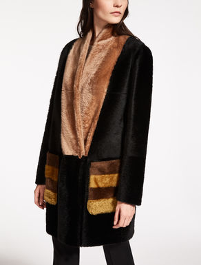 Alpaca-effect shearling jacket