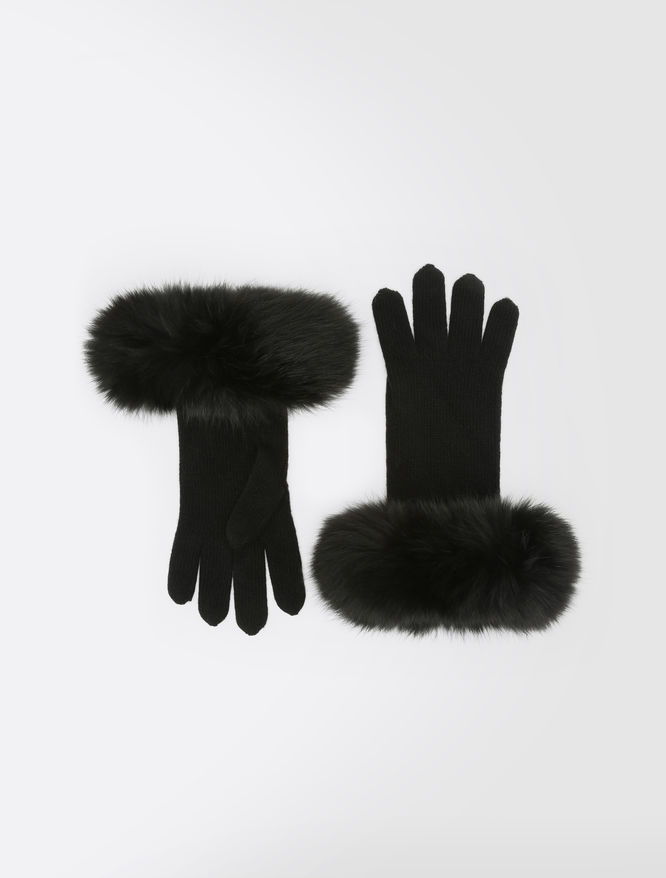 Wool and cashmere gloves