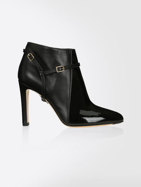 Patent and leather ankle boots