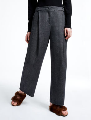 Wool flannel palazzo trousers