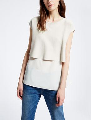 Knit and crêpe de chine T-shirt