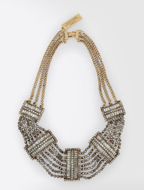 Metal and rhinestone necklace