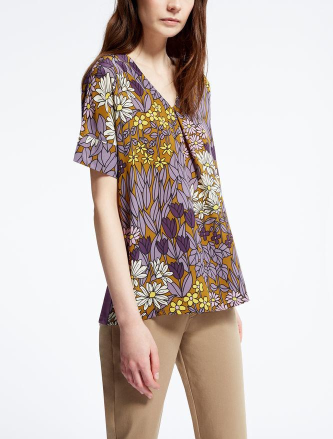 T-shirt in crêpe de chine di seta