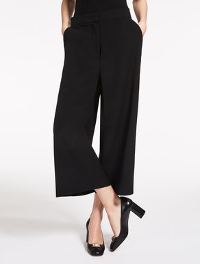 Wool satin crêpe trousers